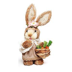 Coelha de Páscoa Decorativo de Palha Pé de Moleque 30cm