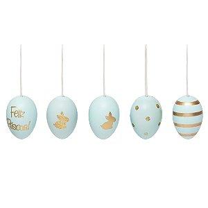 Ovos de Páscoa Decorativos Cromus Azul Claro Saco Sortido Tamanho Galinha 9 unidades