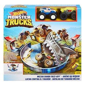 Pista Hot Wheels Monster Trucks Batalha do Tubarão Mecha Mattel