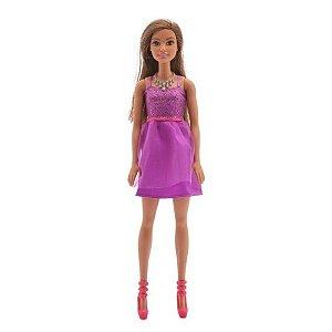 Barbie Vestido Roxo Morena DGX81