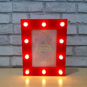 Porta Retrato de Led Vermelho 10x15cm