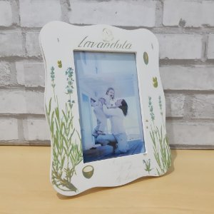 Porta Retrato Madeira Branca Floral 10x15cm