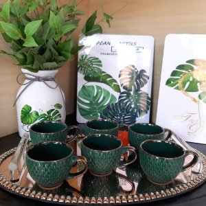 Conjunto 6 Xícaras para Café Verde Drops Wolff 90ml sem Pires