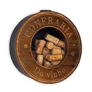 Quadro Porta-Rolhas de Parede Redondo Confraria do Vinho