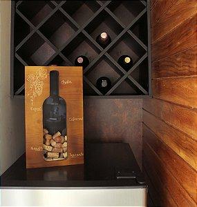 Quadro Porta-Rolhas de Madeira Garrafa de Vinho Experiência