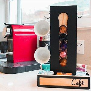 Porta Cápsulas Nespresso com Ganchos para Xícaras e Sachês Café