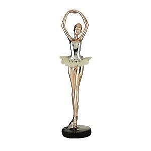 Peça Decorativa Bailarina Rose Gold 30cm