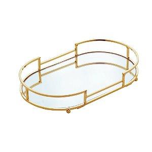 Bandeja Decorativa Espelhada Dourada de Metal 26cm