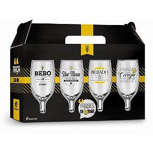 Jogo de Taças para Cerveja Windsor Frases de Bar 330ml 4 Peças