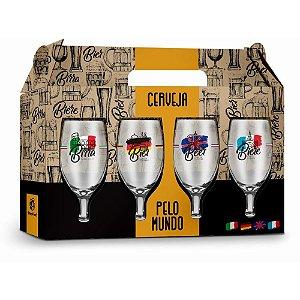 Jogo de Taças para Cerveja Windsor Cervejas pelo Mundo 330ml 4 Peças