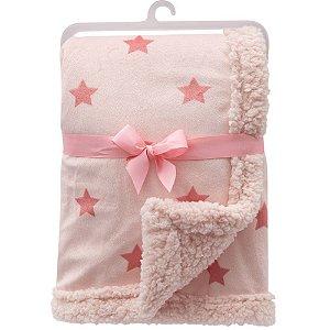 Mantinha para Bebê Dupla Face Estrelinha Buba Rosa