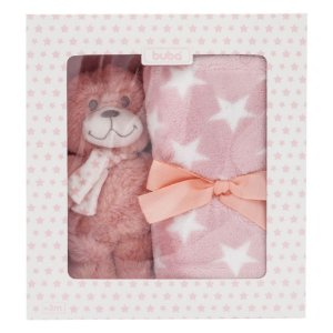 Kit para Bebê Buba Ursinho Star Rosa Manta + Ursinho