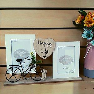 Porta Retrato com Bicicleta Happy Life