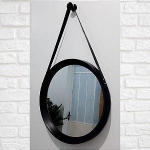 Espelho Redondo com Cinto Preto 50cm