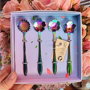 Jogo Colheres para Chá Flores Rainbow 4 unidades