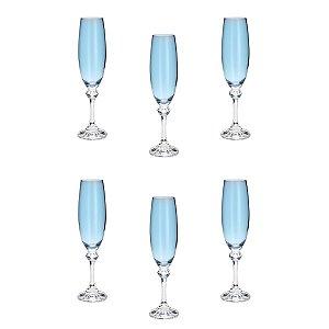 Jogo de Taças para Champanhe Cristal Bohemia Elisa Azul Claro 220ml 6 peças