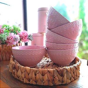 Bowl Porcelana Rosa Grace Rose Jogo 6 peças