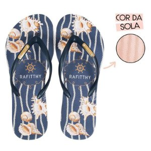 Chinelo Rafitthy Azul com Conchinhas NAVY SHELL
