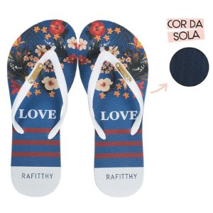 Chinelo Rafitthy Azul Floral - Love Trend