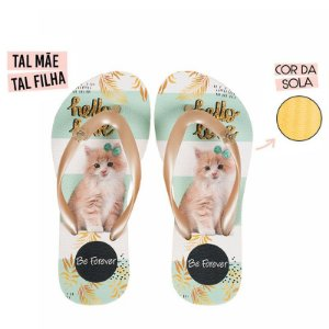 Chinelo Infantil Rafitthy Gatinho Cat Hello Love