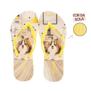 Chinelo Feminino Rafitthy Shitzu Yellow Studio