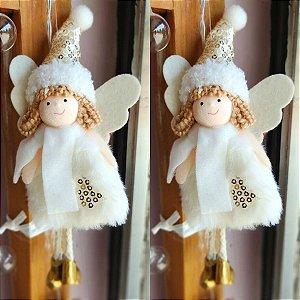 Enfeite para Árvore Anjinho Marfim e Dourado Dolls Cromus Jogo 2 unidades