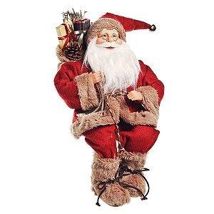 Papai Noel Cromus Sentado Vermelho c/ Saco de Presentes 40cm