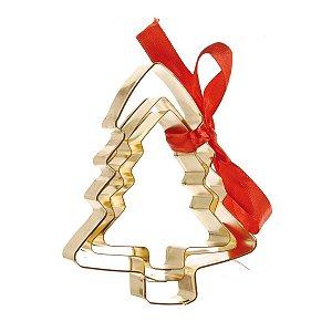 Cortador de Bolacha Pinheirinho Dourado Kit c/3 tamanhos