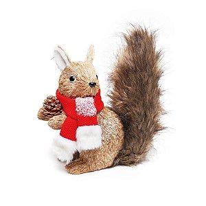 Esquilo de Natal Decorativo Austin com Cachecol 30cm