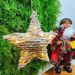 Estrela de Natal Decorativa com Luz Ratan Nevada 39cm