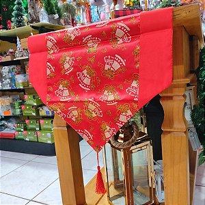 Caminho de Mesa Natal Vermelho com Pinheiros Dourados 1,80m