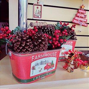 Cachepot de Natal com Alça Metal Jogo c/2 unidades Farm House
