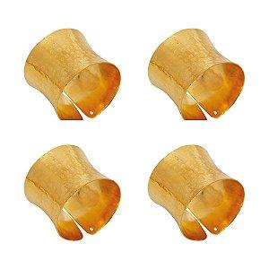 Anel para Guardanapo Metal Dourado Jogo c/4 unidades