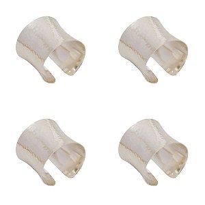 Anel para Guardanapo Metal Prata Jogo c/4 unidades