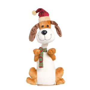 Boneco Decorativo Natal Cachorro com Cachecol Pet Cromus com Som e Movimento