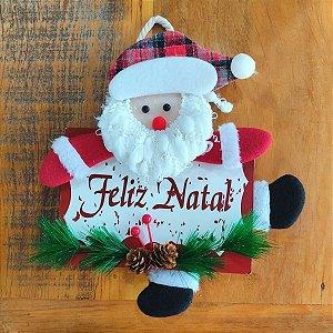 Guirlanda de Natal Papai Noel com Placa Feliz Natal 28cm