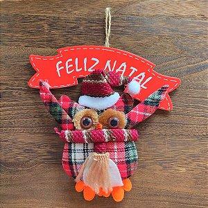 Mini Guirlanda de Natal Coruja Xadrez 20cm