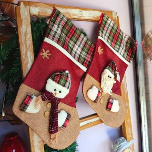 Jogo Meia de Natal Papai Noel e Boneco de Neve 45cm