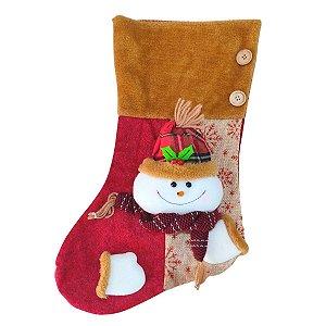 Bota de Natal Decorativa Boneco de Neve 47cm