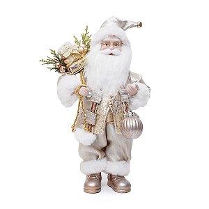 Papai Noel Dourado com Presentes 30cm