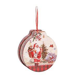 Lata Natalina Redonda Para Pendurar Merry Christmas