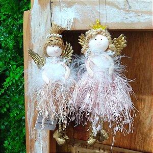Enfeite para Árvore Dolls Cromus Anjinhas Jogo 2 Unidades Sortidas