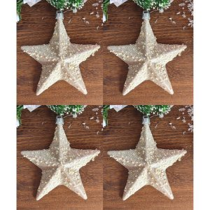Enfeite para Árvore Estrela Dourada Champanhe 14cm Jogo 4 unidades