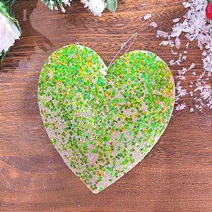 Enfeite Pendente Coração Verde com Glitter Jogo 3 unidades
