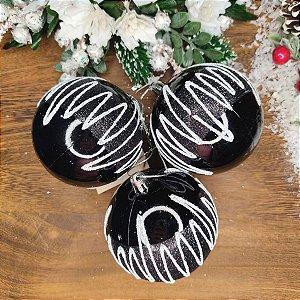 Bola de Natal Preta com Branco 8cm Kit 3 Bolas