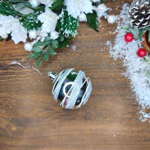 Bola de Natal Prata com Glitter 6cm Kit com 6 Bolas