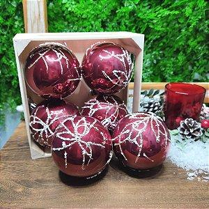 Bola de Natal Vinho Linhas com Glitter 8cm Kit com 6 Bolas