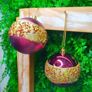 Bola de Natal Marsala Faixa Dourada Brilho e Fosca 8cm Kit com 6 unidades