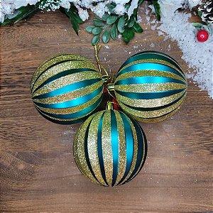 Bola de Natal Gomos Verde Petróleo com Dourado 8cm Kit 3 unidades
