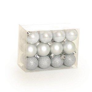 Bola de Natal Prata Pequena 3cm Sortida Kit C/24 unidades